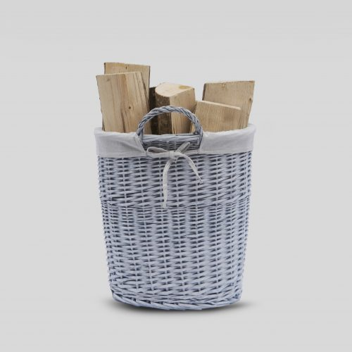 Buff Grey Round Log Basket